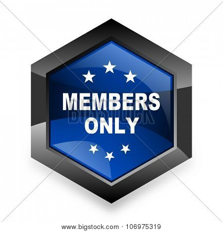 members only blue hexagon 3d modern design icon on white background