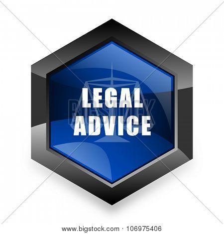 legal advice blue hexagon 3d modern design icon on white background