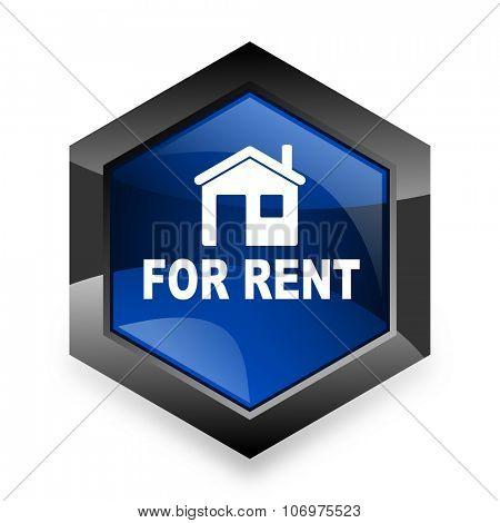 for rent blue hexagon 3d modern design icon on white background