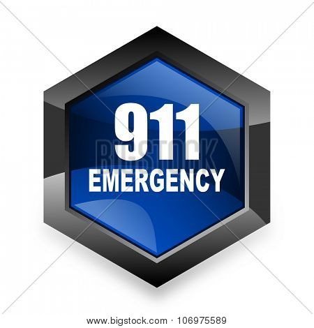 number emergency 911 blue hexagon 3d modern design icon on white background