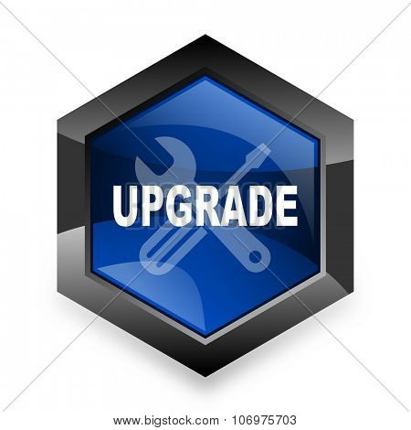 upgrade blue hexagon 3d modern design icon on white background