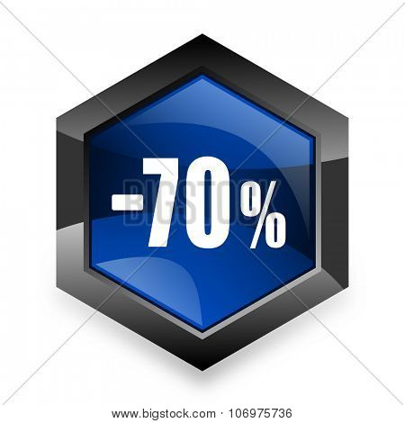 70 percent sale retail blue hexagon 3d modern design icon on white background