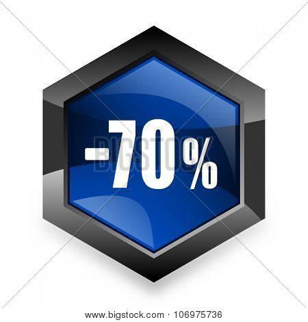 70 percent sale retail blue hexagon 3d modern design icon on white background