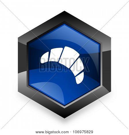 croissant blue hexagon 3d modern design icon on white background