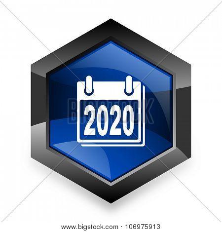 new year 2020 blue hexagon 3d modern design icon on white background