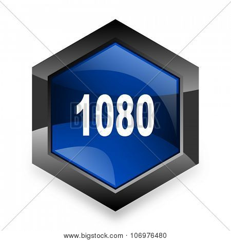 1080 blue hexagon 3d modern design icon on white background