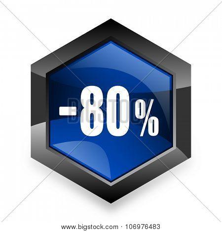 80 percent sale retail blue hexagon 3d modern design icon on white background