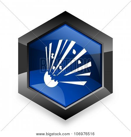 bomb blue hexagon 3d modern design icon on white background