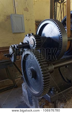 Old Lathe With Belt Drive In An Old Factory