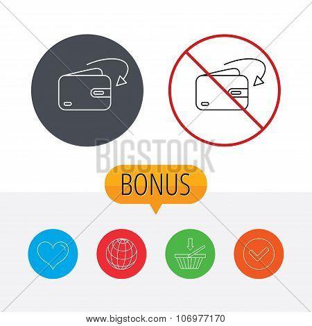 Receive money icon. Cash wallet sign.