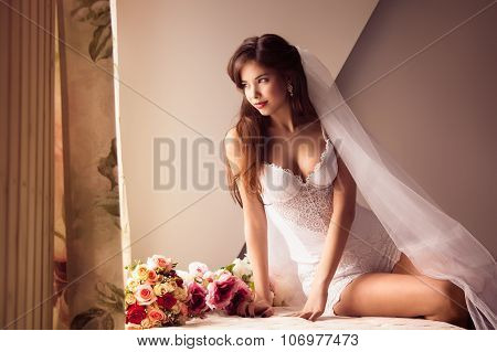 Morning Of Beautiful Bride Looking At The Window