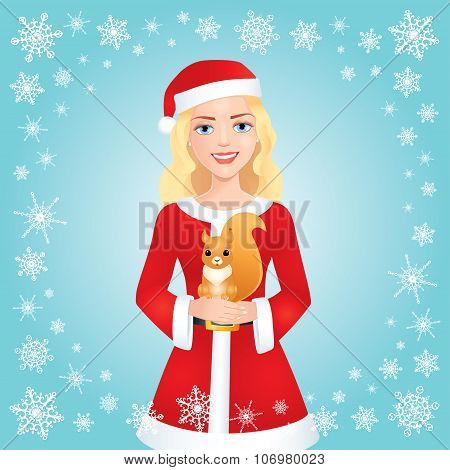 Santa Blonde Girl With Squirrel On Blue