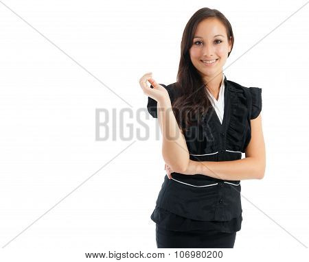 Smilling Businesswoman Standing With Crossed Arms