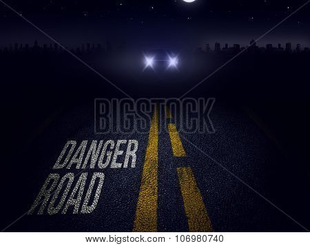 danger road at night