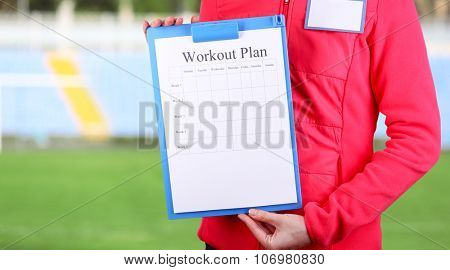 Sports trainer with personal workout plan