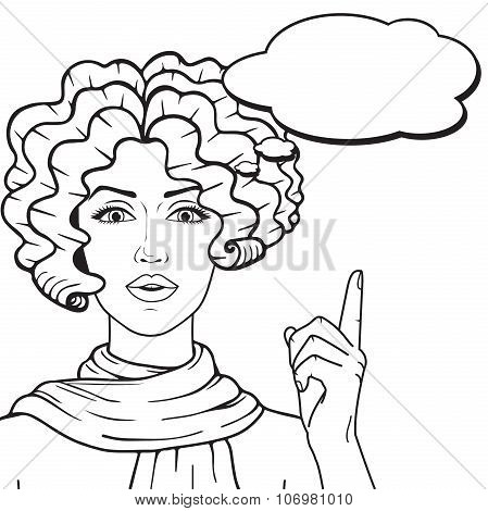Young Curly Hair Girl Thinking And Showing On Speech Bubble For Your Text Outlined,Vector Retro Girl