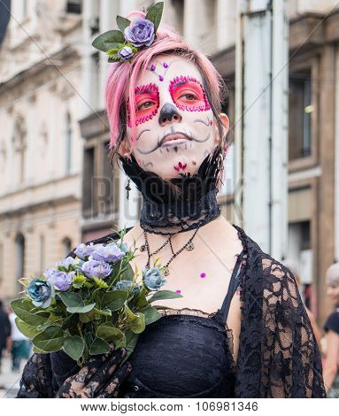 Woman In Costumes In Zombie Walk Sao Paulo