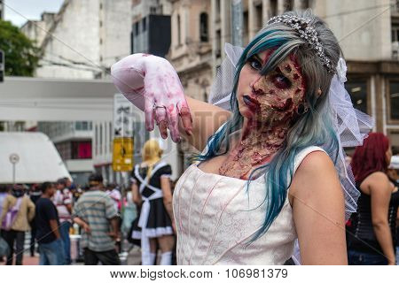 Woman In Costumes In Zombie Walk Sao Paulo