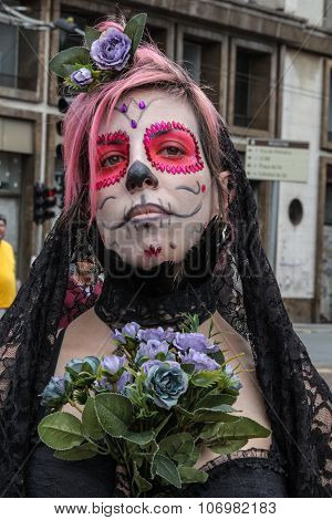 Woman Skull In Zombie Walk Sao Paulo