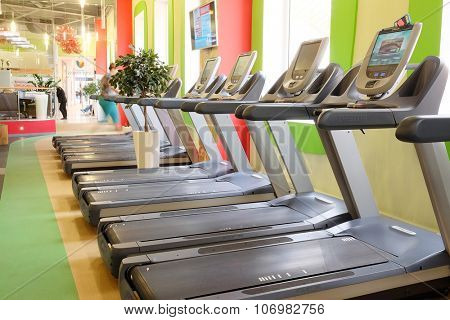 Moscow, Russia, October, 7, 2015: interior of a modern fitness hall in Moscow. Today fitness centers are very popular with Muscovites