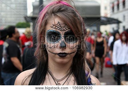 Beautiful Girl In Costumes In Zombie Walk Sao Paulo