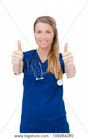 Woman Doctor In Uniform Showing A Success Sign, After A Successful Operation.
