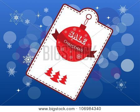 Christmas cover with white emblem and price stickers on blue background