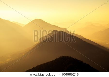 Scenic View Of Mountains And Hills Silhouette At Sunset, Slovakia