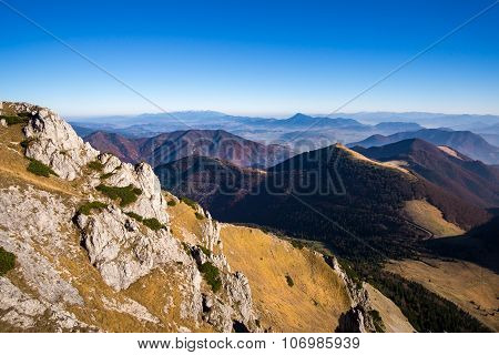 Scenic View Of Misty Mountains In Fall, Slovakia