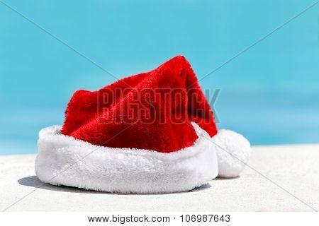 Santa Claus Hat Near Swimming Pool