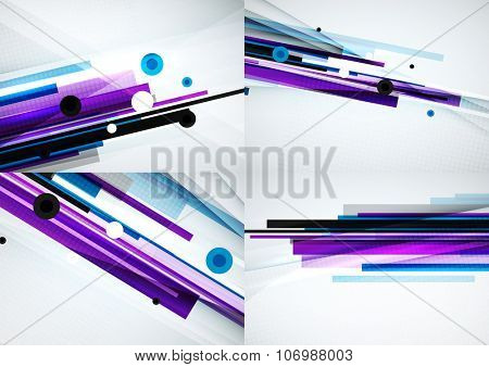 Set of colorful abstract backgrounds. Overlapping color straight lines on light backdrop with art effects