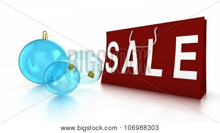 Christmas Sale With Baubles And Bag