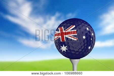 Golf ball with Australia flag colors sitting on a tee