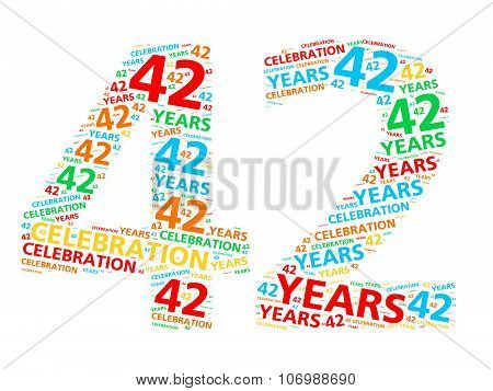 Colorful word cloud for celebrating a 42 year birthday or anniversary