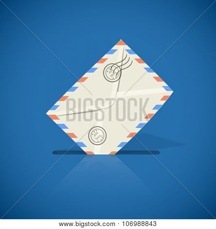 Postal envelope with letter, vector illustration. Transparent objects used for lights and shadows drawing.