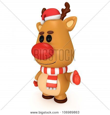 Christmas Deer With Red Nose Wear Santa Claus Cap