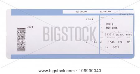 Boarding pass isolated on white background
