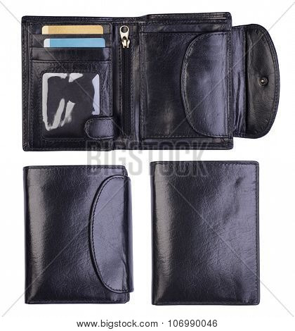 Black wallets isolated on white background