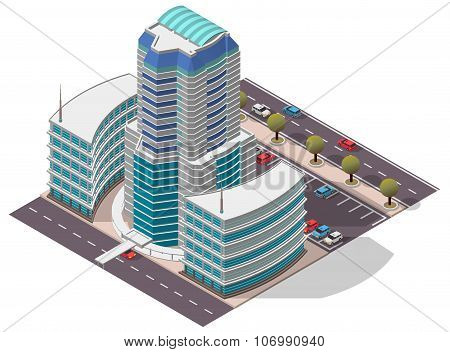 Vector Isometric Hotel Apartment Building