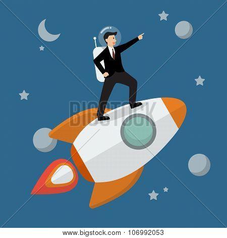 Businessman Astronaut Standing On A Rocket