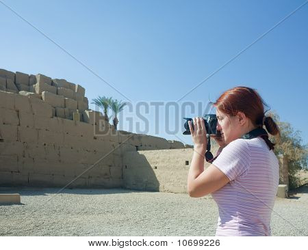 Girl Is Photographing   Ruins Of Karnak Temple