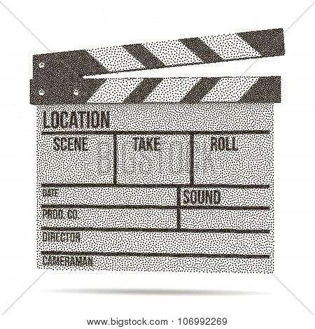 Dotwork Halftone Vector Cinema Clapperboard