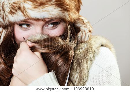 Attractive Woman In Fur Cap