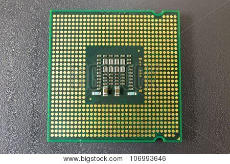 Computer Cpu Chip On Black Surface Background