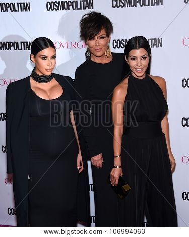 LOS ANGELES - OCT 13:  Kim Kardashian, Kris Jenner & Kourtney Kardashian arrives to the Cosmopolitan's 50th Birthday Party on October 13, 2015 in Hollywood, CA.