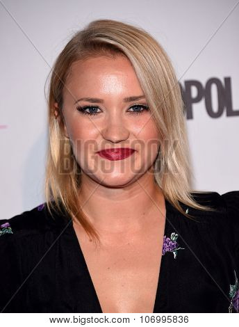 LOS ANGELES - OCT 13:  Emily Osment arrives to the Cosmopolitan's 50th Birthday Party on October 13, 2015 in Hollywood, CA.