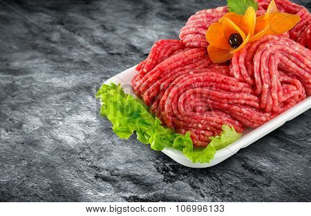 Fresh Raw Minced Meat Decorated With Vegetables And Clipping Path