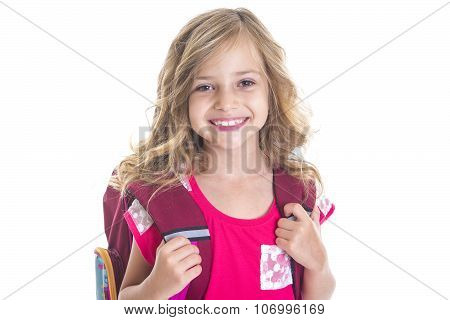 little girl with  backpack, school, learning, knowledge
