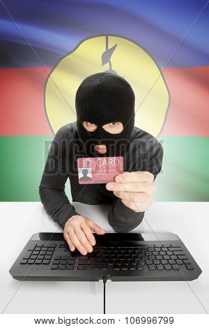 Hacker With Flag On Background Holding Id Card In Hand - New Caledonia
