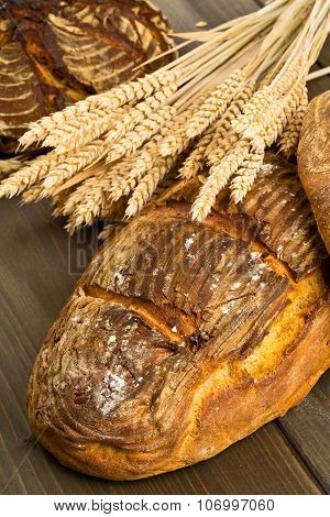 Hand Made Bread Loaves With Wheat Ears